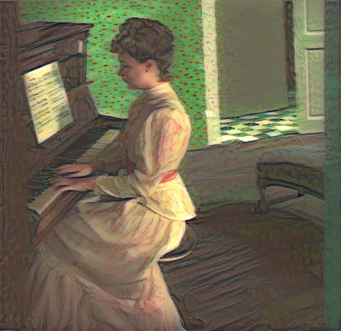 Result: Marguerite Gachet at the Piano, Neural Style Transfer.