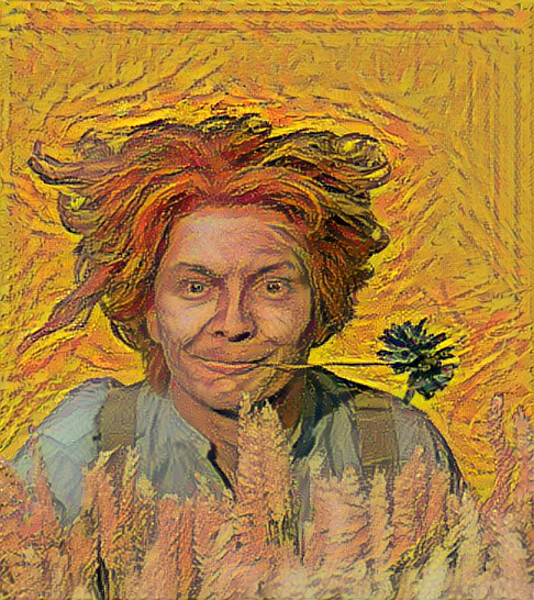 Result: Portrait of a Young Man with Cornflower, Neural Style Transfer.