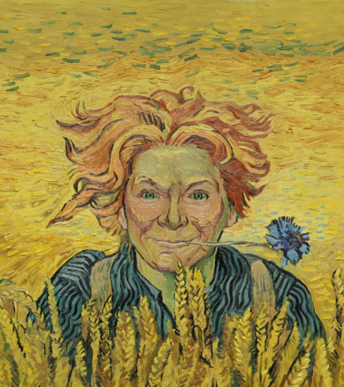 Artist's reinterpretation of a Young Man with Cornflower. Copyright © 2013-2019 Loving Vincent (http://lovingvincent.com). Fair Use