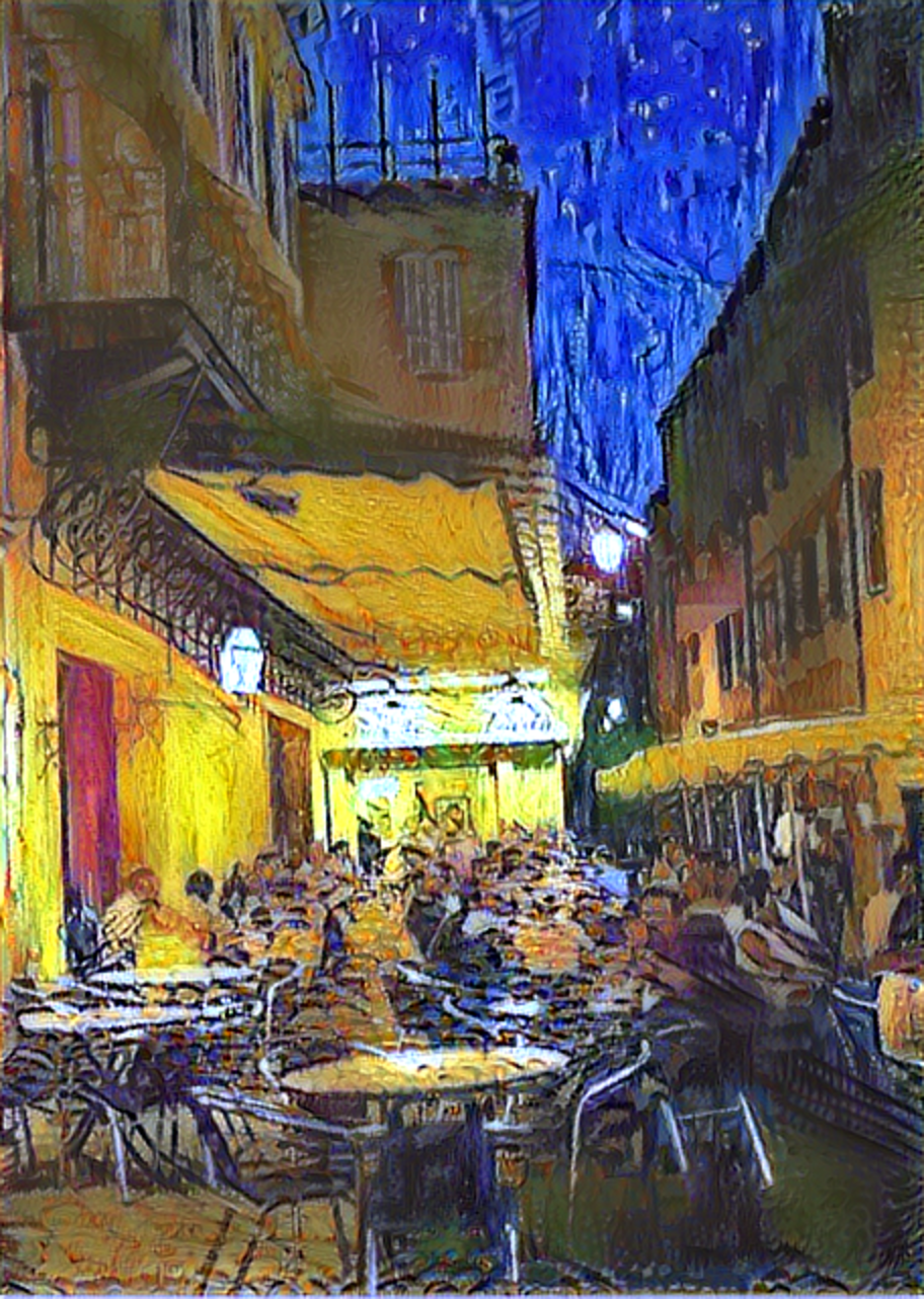 Result: Cafe Terrace at Night, Neural Style Transfer