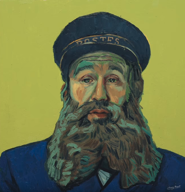 Artist's reinterpretation of Postman Joseph Roulin. Copyright © 2013-2019 Loving Vincent (http://lovingvincent.com). Fair Use