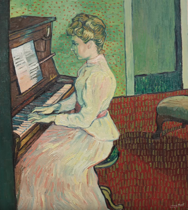 Artist's reinterpretation of Marguerite Gachet at the Piano. Copyright © 2013-2019 Loving Vincent (http://lovingvincent.com). Fair Use